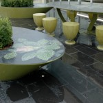 seats around dining table & planter boxes