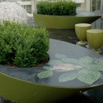 steel planter box, with mosaic top